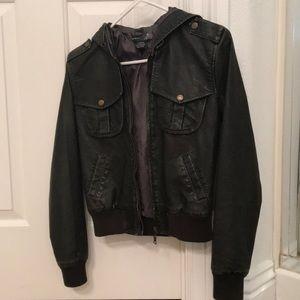 Black hooded (fake leather) jacket